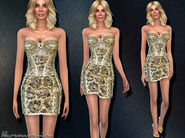 Sims 4 Haute Couture Golden Corset Dress by Harmonia at TSR