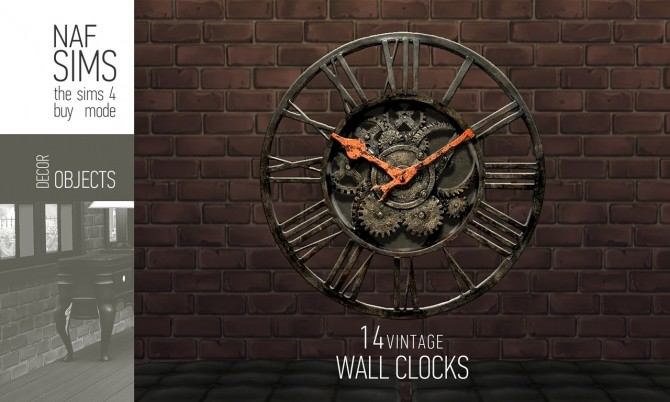 Sims 4 Vintage Wall Clock by nafSims at Mod The Sims
