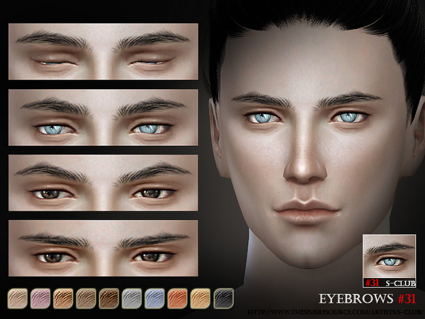 Sims 4 Eyebrows 31 M by S Club WM at TSR