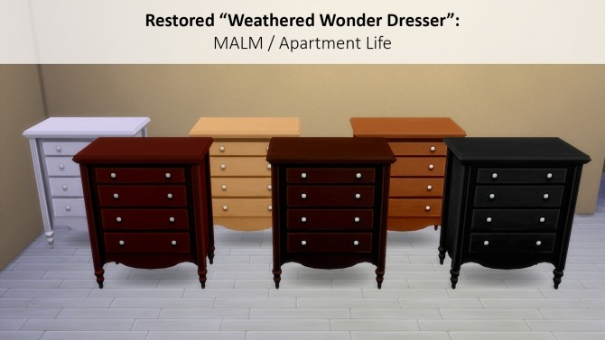 Sims 4 Restored Weathered Wonder Dresser in MALM by siletka at Mod The Sims
