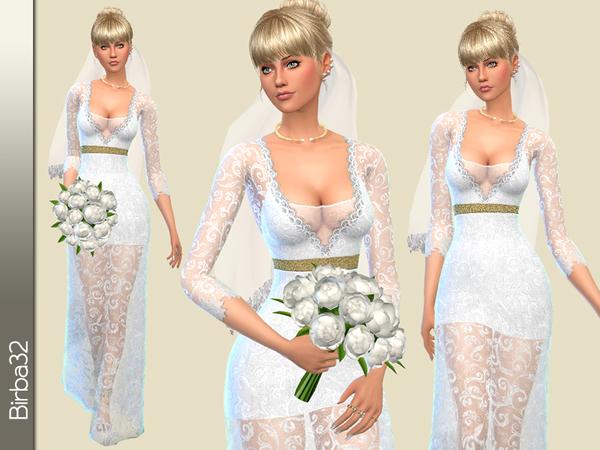 Sims 4 Sofia wedding dress V2 by Birba32 at TSR
