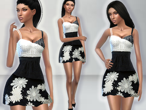 Sims 4 English Embroidery Dress by Puresim at TSR