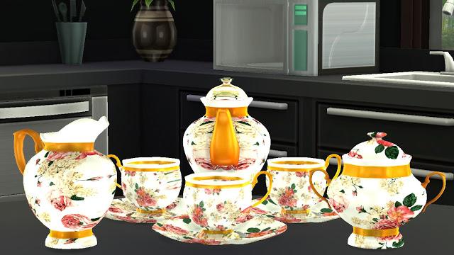 Sims 4 Classic Themed Functional Tea Set at Sanjana sims