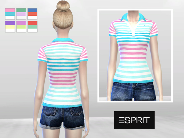 Sims 4 Double Pastel Polo by McLayneSims at TSR