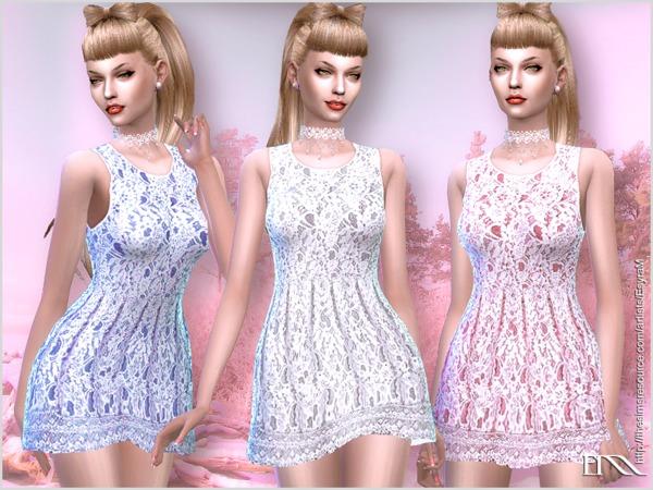 Sims 4 Sleeveless Lace Dress by EsyraM at TSR