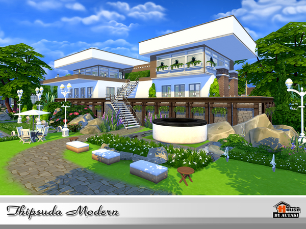 Thipsuda Modern house by autaki at TSR image 627 Sims 4 Updates
