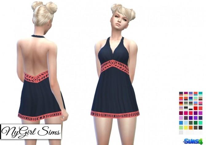 Sims 4 V Back Halter Dress at NyGirl Sims