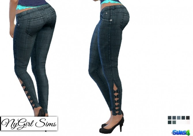Sims 4 Textured Denim Skinny Jeans with Half Leg Bow at NyGirl Sims