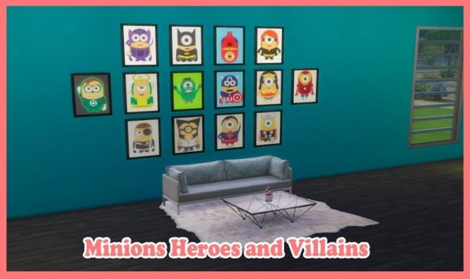 Sims 4 Minions Heroes and Villains Paintings at Nathalia Sims