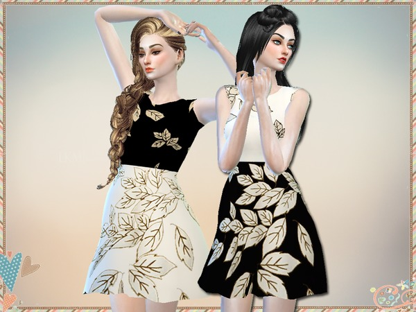 Sims 4 Printed Dress by Simlark at TSR