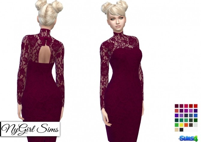 Open Back Turtleneck Lace Overlay Dress at NyGirl Sims image 6818 670x473 Sims 4 Updates