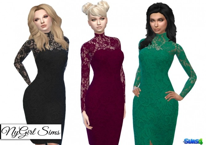 Open Back Turtleneck Lace Overlay Dress at NyGirl Sims image 6917 670x473 Sims 4 Updates