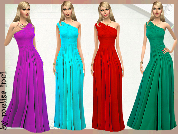 Sims 4 Asymmetric Silk Crepe Gown by melisa inci at TSR