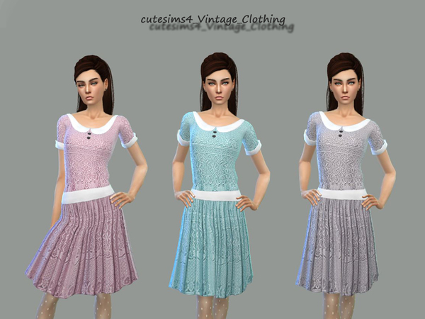 Sims 4 Vintage Dress Set by sweetsims4 at TSR