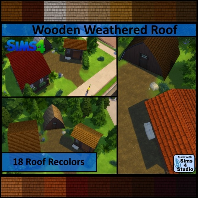 Wooden Weathered Roof by Dalax at TSR image 747 670x670 Sims 4 Updates