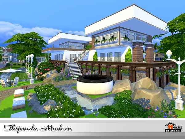 Sims 4 Thipsuda Modern house by autaki at TSR
