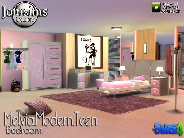 Sims 4 Melvia modern teen bedroom by jomsims at TSR