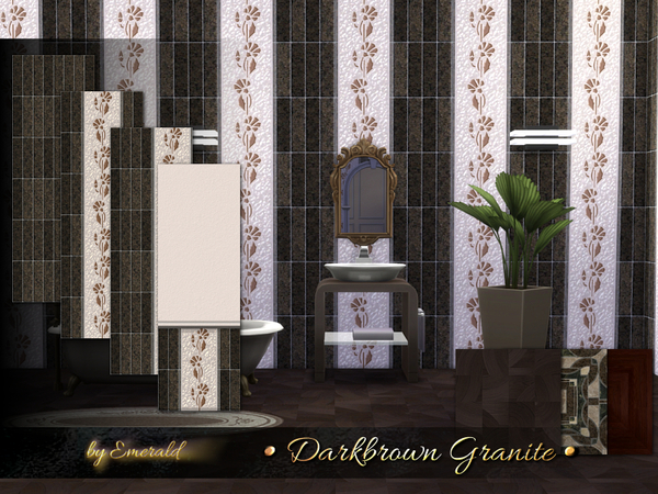 Sims 4 Darkbrown Granite tiles by Emerald at TSR