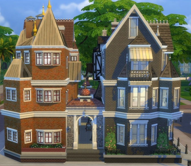 Old town district with victorian style shops by hiddenmoon for Classic house sims 4