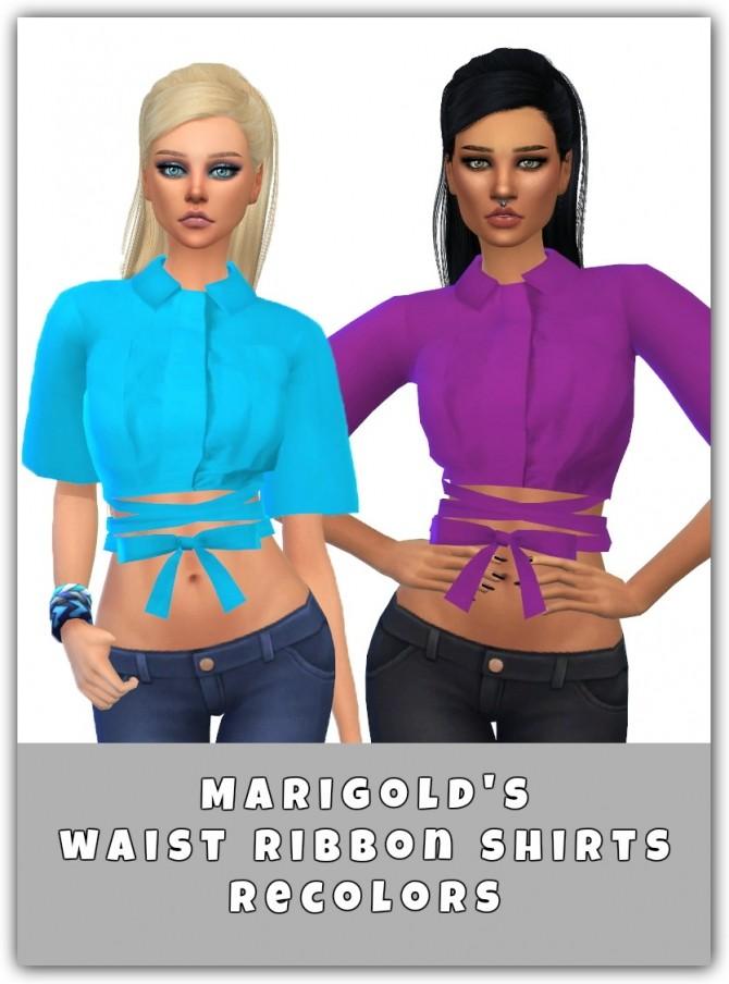 Sims 4 Waist Ribbon Shirts Recolors at Maimouth Sims4