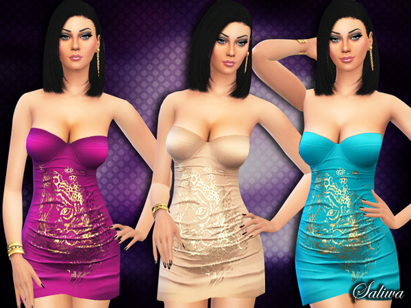 Jenna Strapless Dress by Saliwa at TSR image 936 Sims 4 Updates