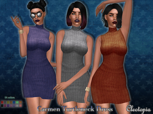 Sims 4 Carmen Turtleneck Dress by Cleotopia at TSR