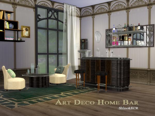 Sims 4 Art Deco Home Bar by ShinoKCR at TSR