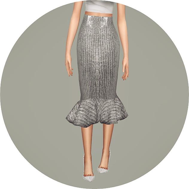 Mermaid Line Midi Skirt v2 single colors at Marigold image 1008 Sims 4 Updates