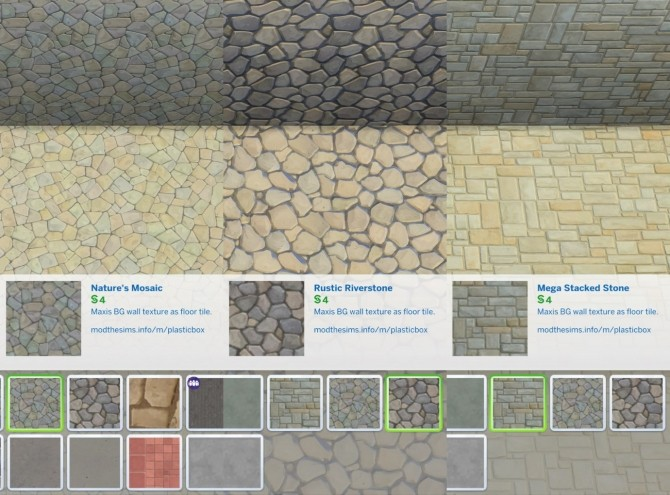 Sims 4 BG World/Wall/Terrain Stone Floors by plasticbox at Mod The Sims