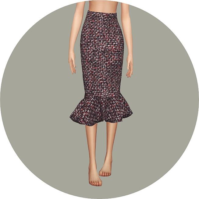 Mermaid Line Midi Skirt v2 single colors at Marigold image 10112 Sims 4 Updates