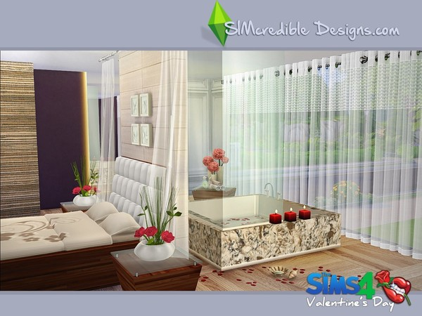 Valentines day 2016 bedroom with bathtub by simcredible at for Bedroom designs sims 4