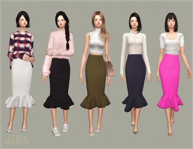 Mermaid Line Midi Skirt v2 single colors at Marigold image 1038 670x518 Sims 4 Updates
