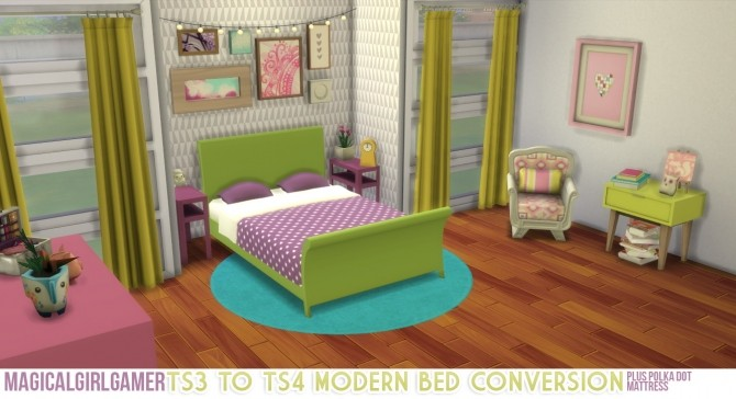 Sims 4 Modern Bed Conversion (Double) by magicalgirlsimmer at SimsWorkshop