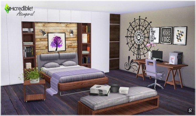 Atemporal bedroom at simcredible designs 4 sims 4 updates for Bedroom designs sims 4