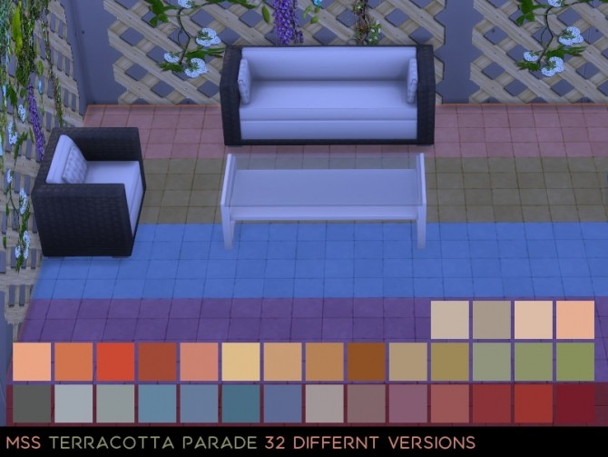 Sims 4 Terracotta Parade stone floor by midnightskysims at SimsWorkshop