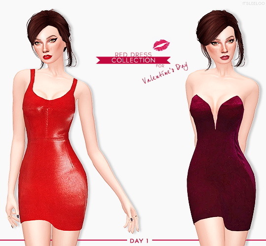 Sims 4 RED DRESS COLLECTION at Leeloo