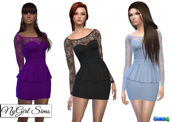 Sims 4 Long Sleeve Lace Top Peplum Mini Dress at NyGirl Sims