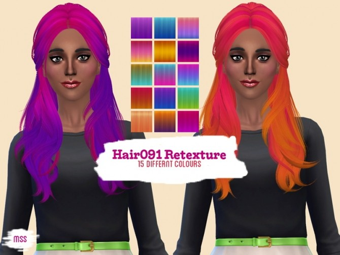 Sims 4 Hair091 Retexture by midnightskysims at SimsWorkshop