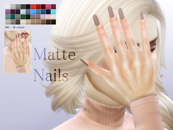 Sims 4 Matte Nails N02 by Pralinesims at TSR