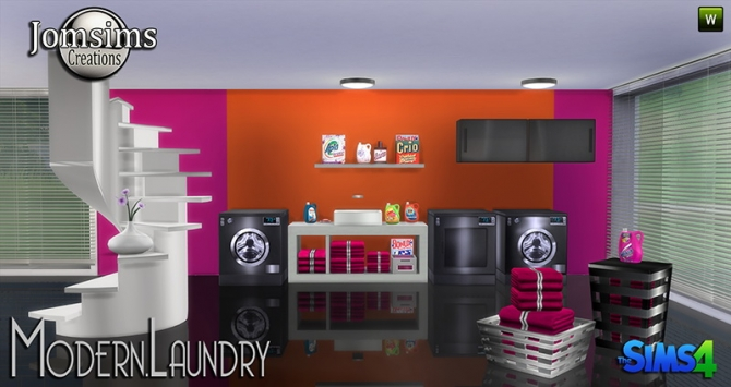 Modern laundry at jomsims creations sims 4 updates for Room decor sims 4