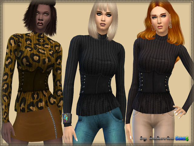 Sims 4 Sweater & Leather Belt at Bukovka