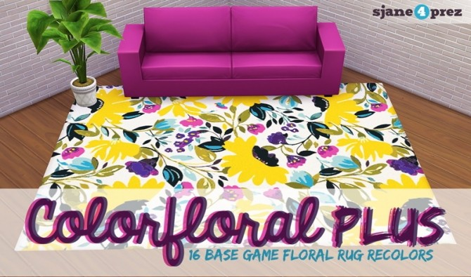 Sims 4 16 super flowery rugs at 4 Prez Sims4