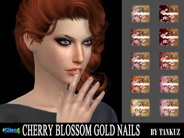 Sims 4 Cherry Blossom Gold Nails at Tankuz Sims4