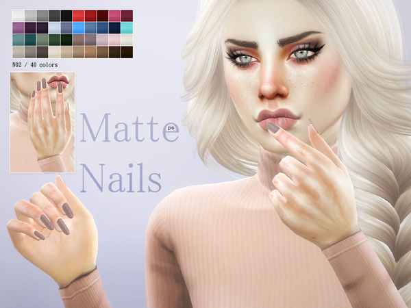 Matte Nails N02 by Pralinesims at TSR image 1413 Sims 4 Updates
