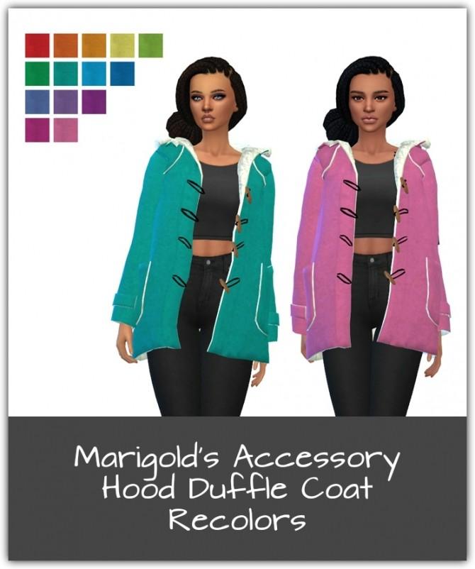 Sims 4 Marigolds Hood Duffle Coat Recolors at Maimouth Sims4