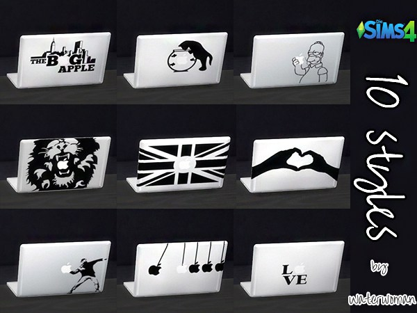 MacBook Stickers by Waterwoman at Akisima image 15016 Sims 4 Updates