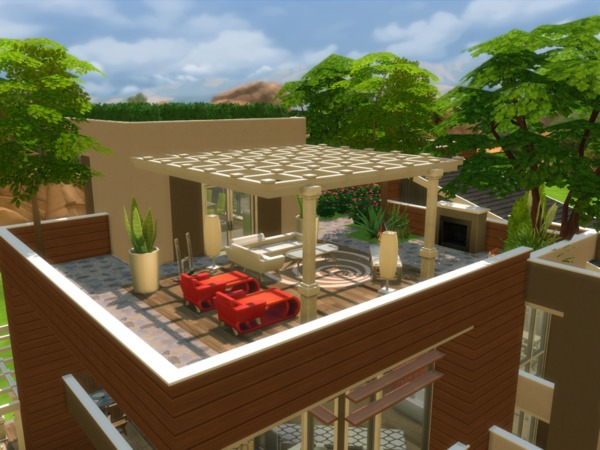 Sims 4 Eco Modern Mansion by NelcaRed at TSR