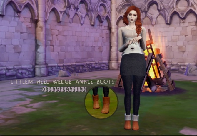 Sims 4 LittleM Heel Wedge Ankle Boots AF at Dream Team Sims