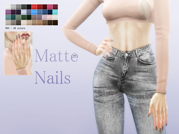 Matte Nails N02 by Pralinesims at TSR image 1513 Sims 4 Updates
