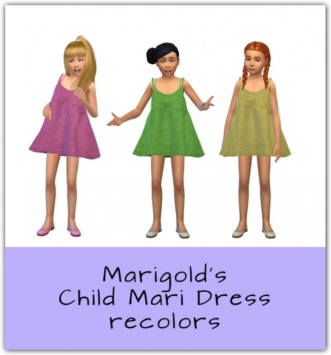 Sims 4 Child Loose Fit Mari Dress Recolors at Maimouth Sims4